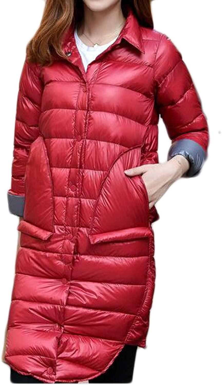 JXGWomen Single Breasted ALine Long Down Stand Collar Jacket Puffer Coat