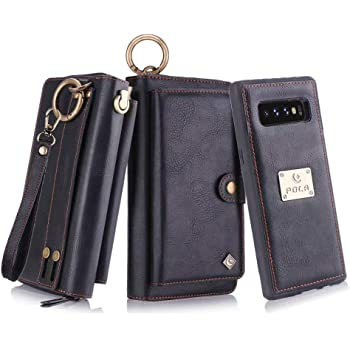 Petocase Compatible Galaxy S10 Plus Wallet Case, Multi-Functional PU Leather Zip Wristlets Clutch Detachable Magnetic 13 Card Slots 4 Cash Purse Protection Back Cover for Samsung Galaxy S10 Plus Black