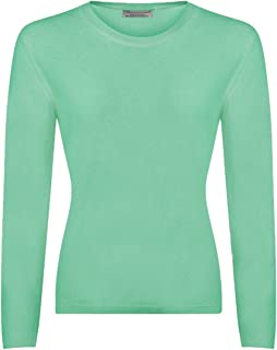 Great & British Knitwear Ladies CL201 100% Extrafine Lambswool Round Neck Pullover. Made in Scotland-Fairway Green-Small