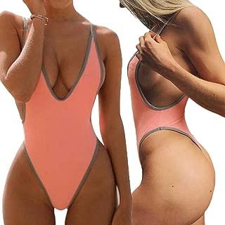 Swimsuits for Women Sexy Monokini Deep V One Piece Bathing Suits Backless Cheeky Swimwear Semi Thong Bikini