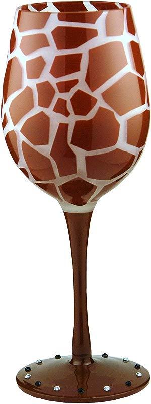 Bottom S Up 15 Ounce Giraffe Handpainted Wine Glass