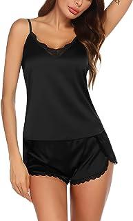 Ekouaer Womens Pajama Sets Sexy Lingerie Satin Sleepwear Cami Shorts Set V Neck Pj Lace Nightwear