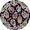 壁掛け時計10インチシュガースカル装飾お祝い墓地メキシコ儀式フィギュア黒の背景のテーマデザインテーマアート多色サイレントホームオフィス装飾非目覚まし時計オフィス装飾