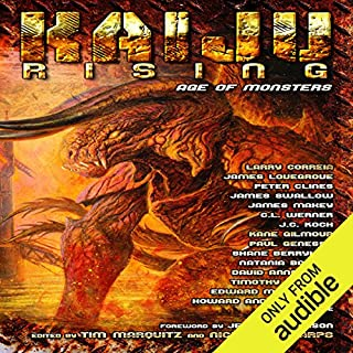 Kaiju Rising: Age of Monsters                   By:                                                                                                                                 Larry Correia,                                                                                        Peter Clines,                                                                                        Peter Rawlik,                   and others                          Narrated by:                                                                                                                                 Jennifer Van Dyck,                                                                                        Jeff Woodman,                                                                                        Bronson Pinchot,                   and others                 Length: 18 hrs and 1 min     391 ratings     Overall 3.7