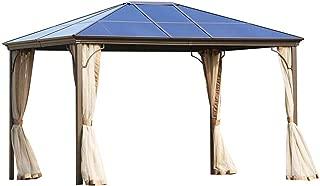 Outdoor Garden Gazebo 12 x 10 FT Patios Gazebo Beige Canopy Permanent PVC Hardtop Mosquito Netting, Front Porch