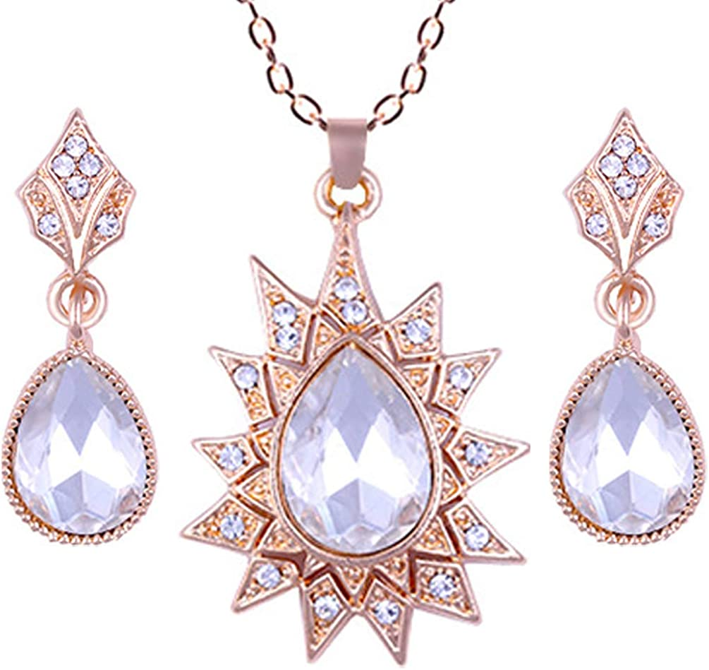Cubic Zirconia Necklace and Earring Set Titanium Steel Necklace for Women Non-Allergic Accessories Gala Party Fashion Princess Accessories Gift Box Wrap Jewelry Summer Fashion Accessories 004