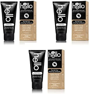 Hello Oral Care Activated Charcoal Fluoride Free Whitening Toothpaste, 4 Ounce - 3 Pack