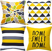 WLNUI Decorative Pillow Covers 18x18 Inch Set of 4 Yellow Geometric Modern Throw Pillow Covers Home Sweet Home Decorative ...