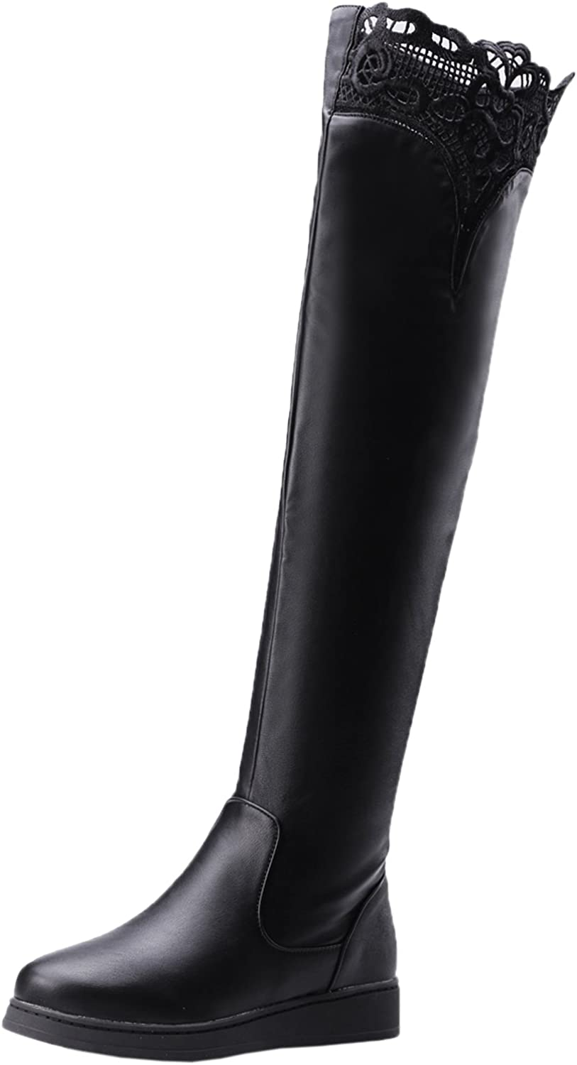 BIGTREE Knee High Boots Women Fall Winter Flat Black Embroidered Lace Warm Over The Knee Boots