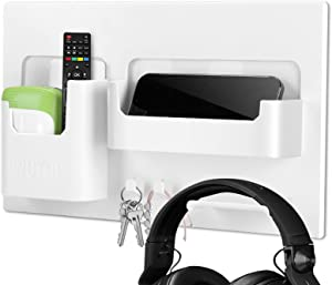 Bedside Shelf Accessories Organizer, Self-Stick on Wall Mount, Ideal Holder for Glasses, Remote, Earphone, Cell Phone Next to Bed & Table, Dorm, Office, Bedroom Décor