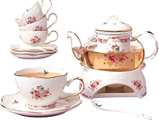 Jusalpha Fine China Flower Series Tea Cup Saucer Set with Teapot Warmer- Filter and Spoon, 16pcs in 1 set (16pcs set)
