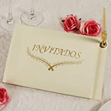 Mis Mehores Deseos! Ivory Guest Book With Pen And Holder