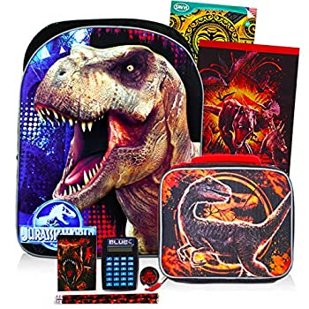 Jurassic World Backpack and Lunch Box Set ~ 10-Pc Deluxe 16  Jurassic Park Backpack with Lunch Bag and School Supplies