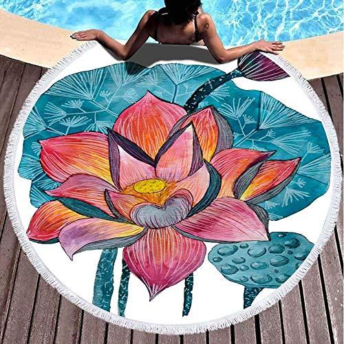 AEMAPE Toallas de Playa para niñas, Toalla de Playa de Secado rápido Toallas de Playa Suaves Pintura de Acuarela Original Plantas acuáticas Lotus Toalla de Playa Redonda de Microfibra de 59 Pulgadas