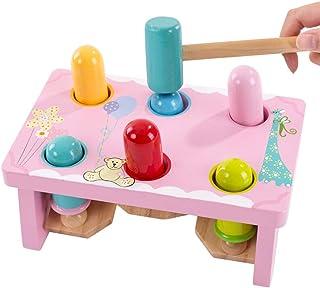 木製ビート知育玩具赤ちゃん子供の日ビート音楽子供パイルテーブル誕生日プレゼント (色 : Pink)