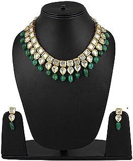 39fbbd8e9 Shining Diva Fashion Green Kundan Traditional Necklace Jewellery Set for  Women