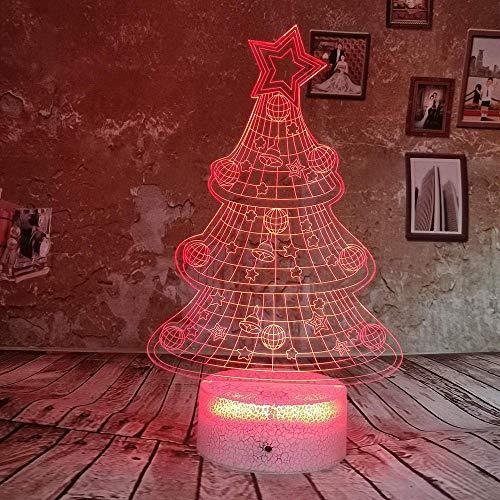 Drop Shipping RGB Christmas Tree Creative Gift 3D Night Light LED 7 Color USB Illusion Gradient Toy Table Lámpara de escritorio para niños
