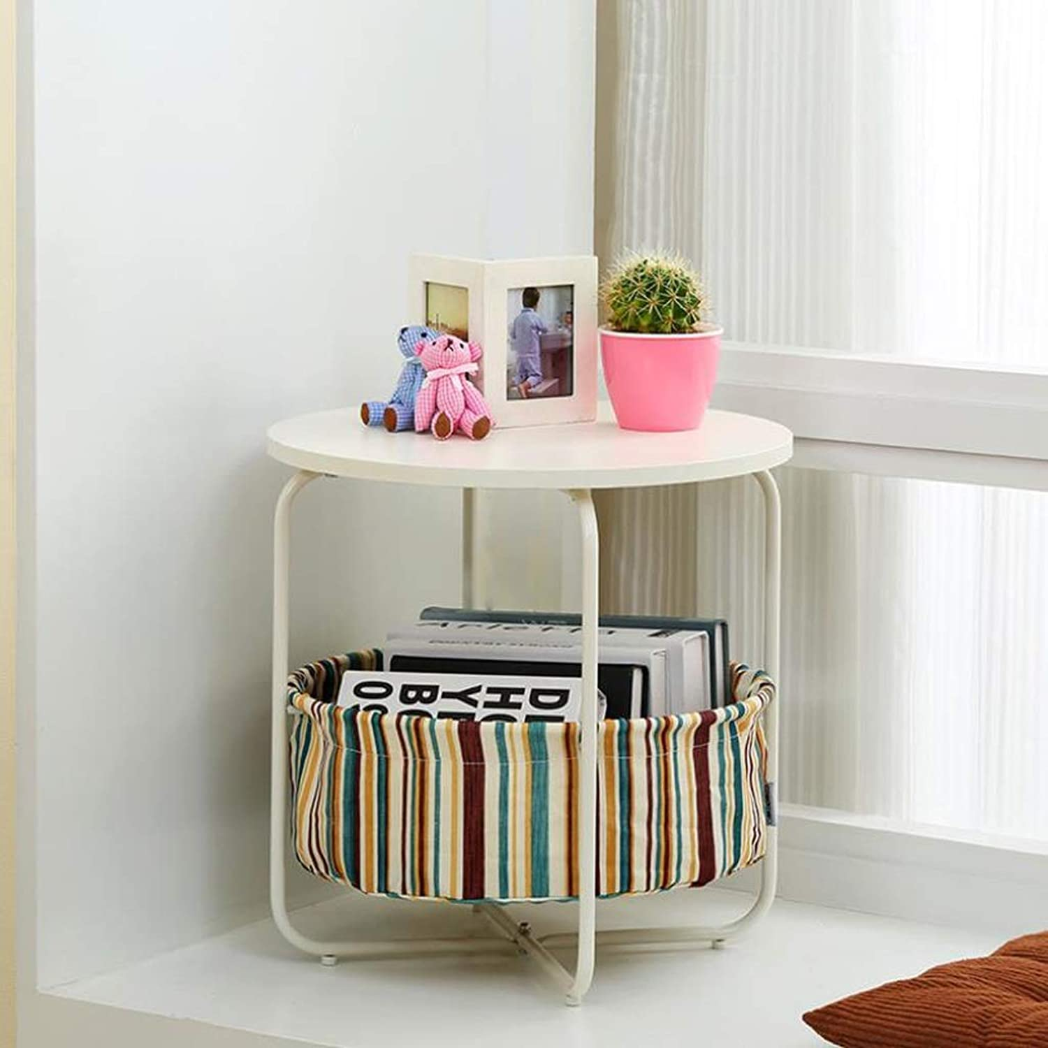 L-Life End Tables Side Table 2-Layer Sofa Side Table, Coffee End Table Storage Rack Round Multi-Function (color   A, Size   43cm)