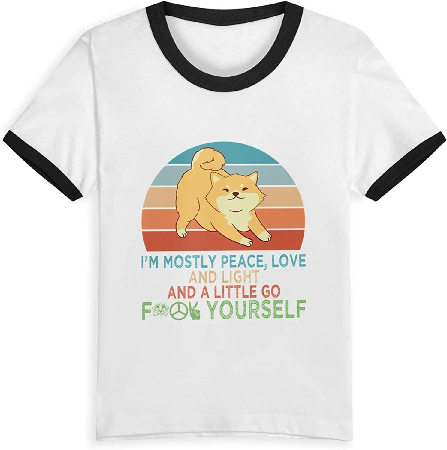Im Mostly Peace Love and Light and A Little Go Fk Yourself T-Shirts Novelty for Kids Tees with Cool Designs