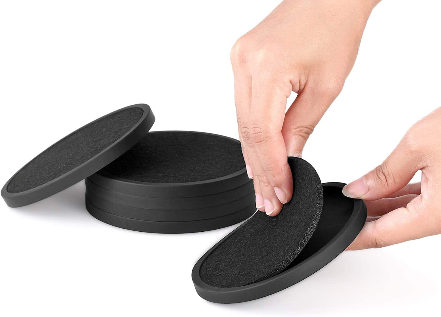 Silicone Drink Coasters with Absorbent Max 76% OFF Felt Arlington Mall Soft Insert 6Packs -