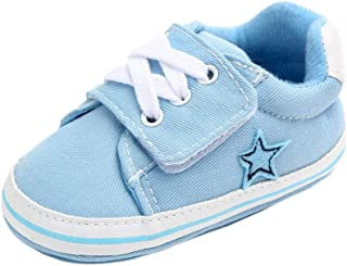 Hopscotch Baby Boys Cotton Star Patch Early Walker Shoes in Blue Color