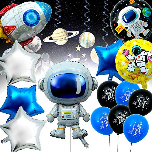 Joeyer 14 Stücke Astronaut Science Fiction Ballon, Cartoon Geburtstag Aluminium Luftballon Dekorationen Set für Kinder