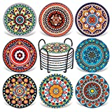 Coasters for Drinks,AODINI Set of 8 Absorbent Stone Coasters for Wooden Table, Mandala Ceramic Coasters with Cork Base, Gift for Housewarming Birthday and Family - Great Home and Dining Room Decor