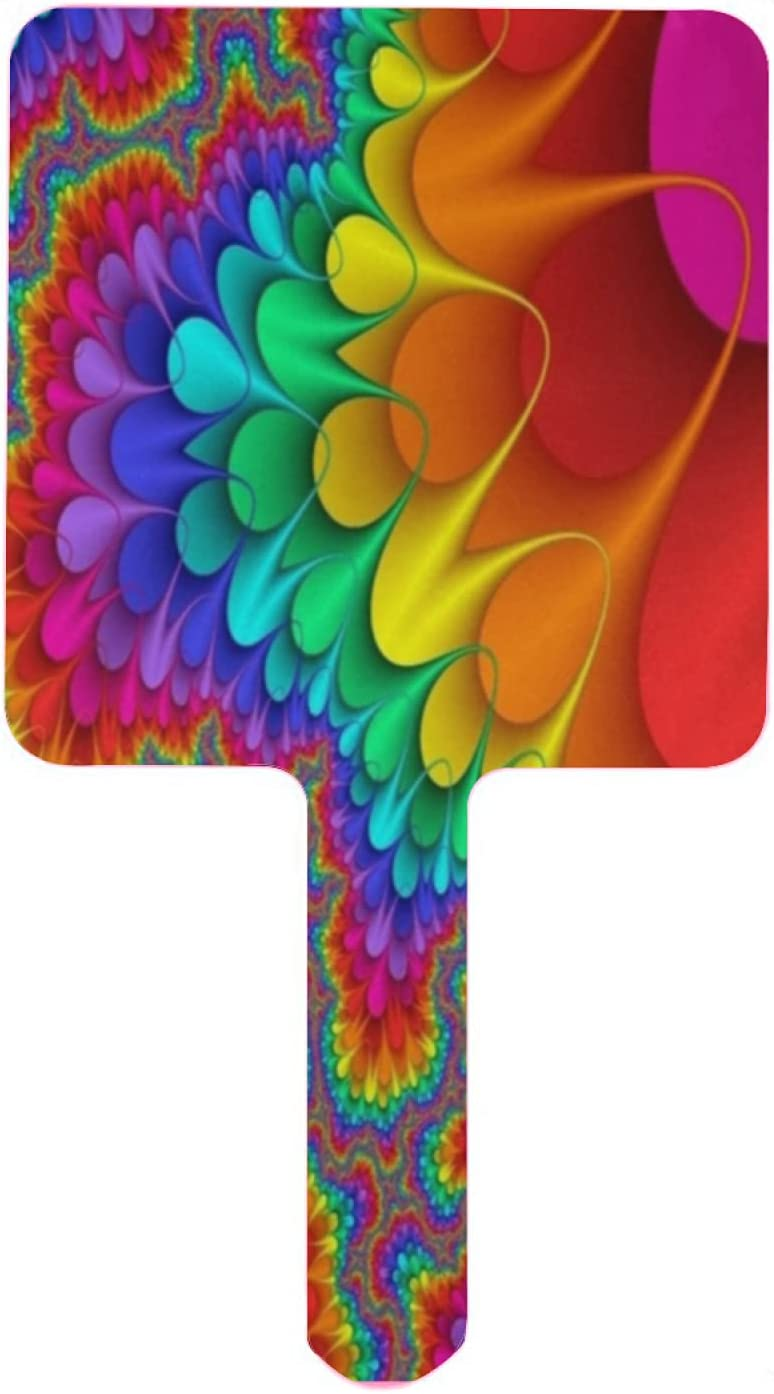 Elegant Hand Direct stock discount Mirror Rainbow Abstract Psychedelic Texture Handheld