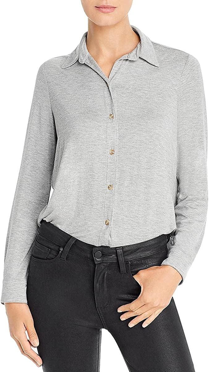 Three Dots Womens Collared Stretch Button-Down Top