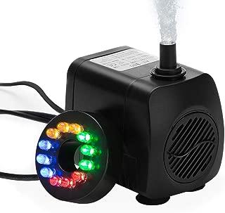 HOTSO Bomba de Agua Sumergible, Mini Caudal de Agua 10W Bajo Consumo 800L/H Eficiente+LED Luz de 12 Bombillas para Pecera Acuario Estanque Fuente Interior Sistemas Hidropónicos