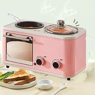 Qinmo Horno eléctrico, horno eléctrico que cocina la 3 en 1, máquinas multifuncionales Pan Makers, sartén eléctrica Sandwich constante la temperatura de cocción antiadherente Inferior, Azul (Color: Ro