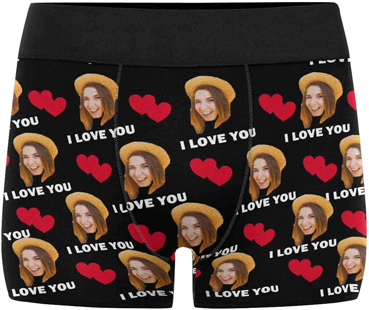 Custom Lover Face Boxer Briefs I Love You Personalized Photo Funny Underwear Shorts for Men The Best Gifts