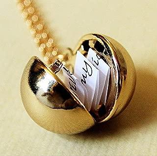 Shiny Gold Secret Message Locket - Vintage Gold Brass Ball Locket Necklace - Stocking Stuffer Gift