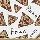 ABAKUHAUS Pizza Fabric by The Yard, Pattern in Hand Drawn Doodle Style Pizzeria Menu Fast Food Delicious Gourmet Eating, Microfiber Fabric for Arts Crafts Textiles Decor 2M (148x200cm), Multicolor