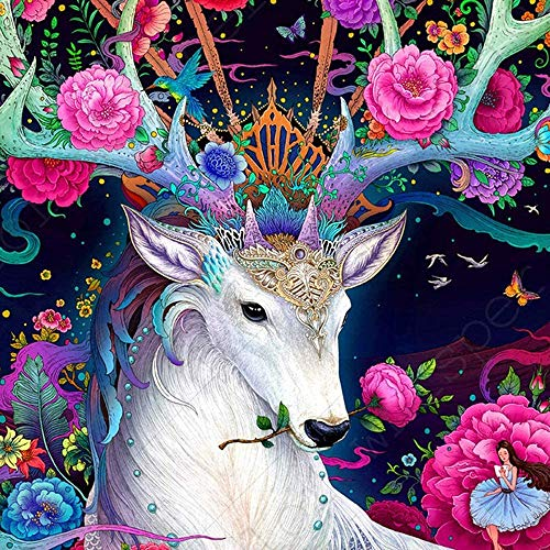 DIY Diamond Art Painting Handmade Art Drawing Elf Deer Exquisite Plant Decoration Handmade Art Gift Mosaic Ornaments