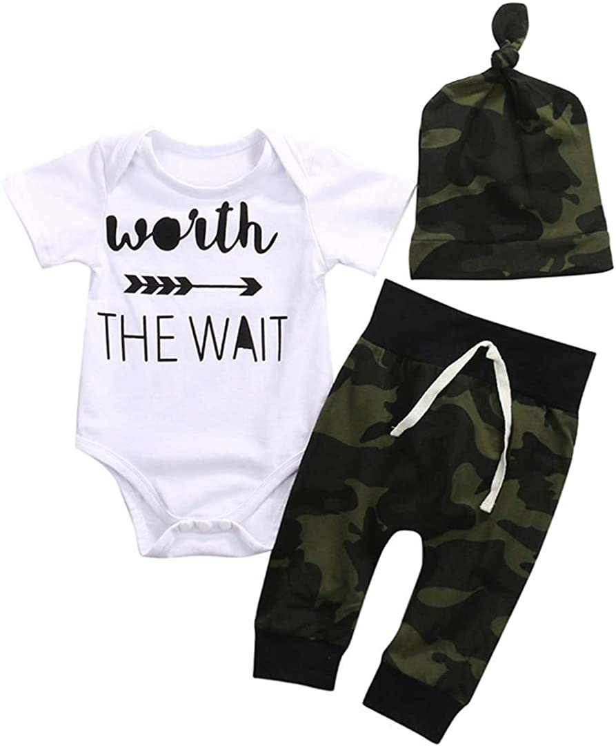 Scfcloth Newborn Baby Boys Worth The Wait Romper + Camo Pants + Hat Clothing Set Outfits