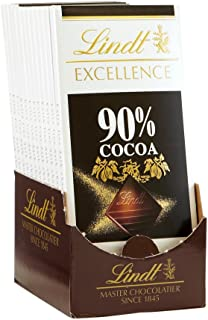 Lindt EXCELLENCE 90% Cocoa Dark Chocolate Bar, 3.5 oz, 12 Pack