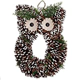 Bits and Pieces - Snowy Owl Wreath - Crafted Pinecone Decoration - Home Décor