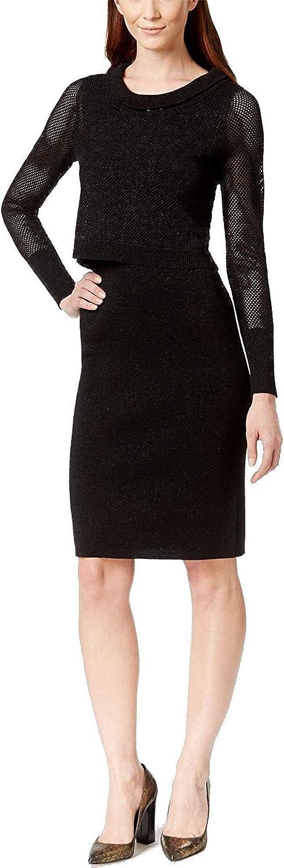 Anne Klein Women's Sparkle Lurex Overlay Sweater Dress