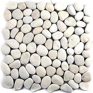 Foglio Di Mosaico Con Ciottoli Di Pietra Levigata Di Colore Bianco Ideale Per Rivestire Pareti Di Bagno Wc Doccia Cucina Rivestimento A Mosaico Per Pareti E Vasche Da Bagno Amazon It Fai