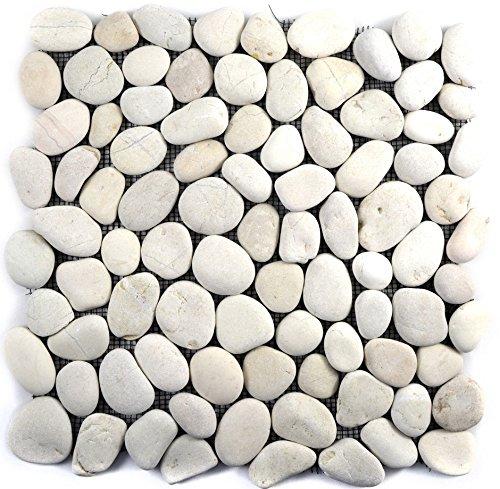 Mosaik Fliese Flußkiesel Steinkiesel Kiesel cream weiß gewölbt für WAND BAD WC DUSCHE KÜCHE FLIESENSPIEGEL THEKENVERKLEIDUNG BADEWANNENVERKLEIDUNG Mosaikmatte Mosaikplatte