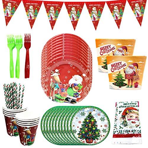 Conjunto de Suministros de Fiesta BESTZY 72 piezas Party Supplies Juego de Decoración Navidad Vajilla Desechable Cumpleaños para Decoraciones de Ducha