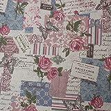 Souarts Textile Tissu Coton Lin pr Diy Patchwork Couture Motif Papillon Anglais 150x100cm (Multicolore)