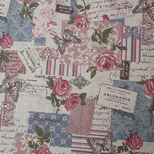 Souarts Textile Tissu Coton Lin pr DIY Patchwork Couture Motif Papillon Rose 160cm x100cm