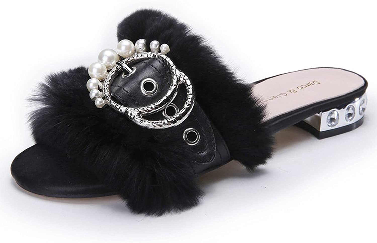 Women's Flat Fur Slippers Ladies Sandals Leather Peep Toe Slide Mules shoes With Low Heel Rhinestone Large Sizes