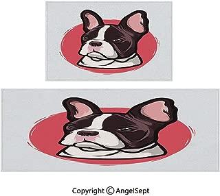 All Weather Door Mats 2piece Suit,Cute French Bulldog Artistic Portrait Hipster Purebred Creature Pet Illustration Decorative 20