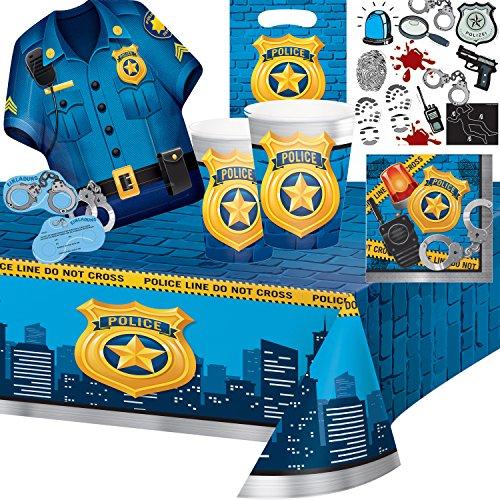 103-teiliges Party-Set * POLICE PARTY * für Kindergeburtstag und Motto-Party // mit Teller + Becher + Servietten + Einladungen + Tischdecke + Partytüten + Luftballons + Luftschlangen // Polizei Kinder