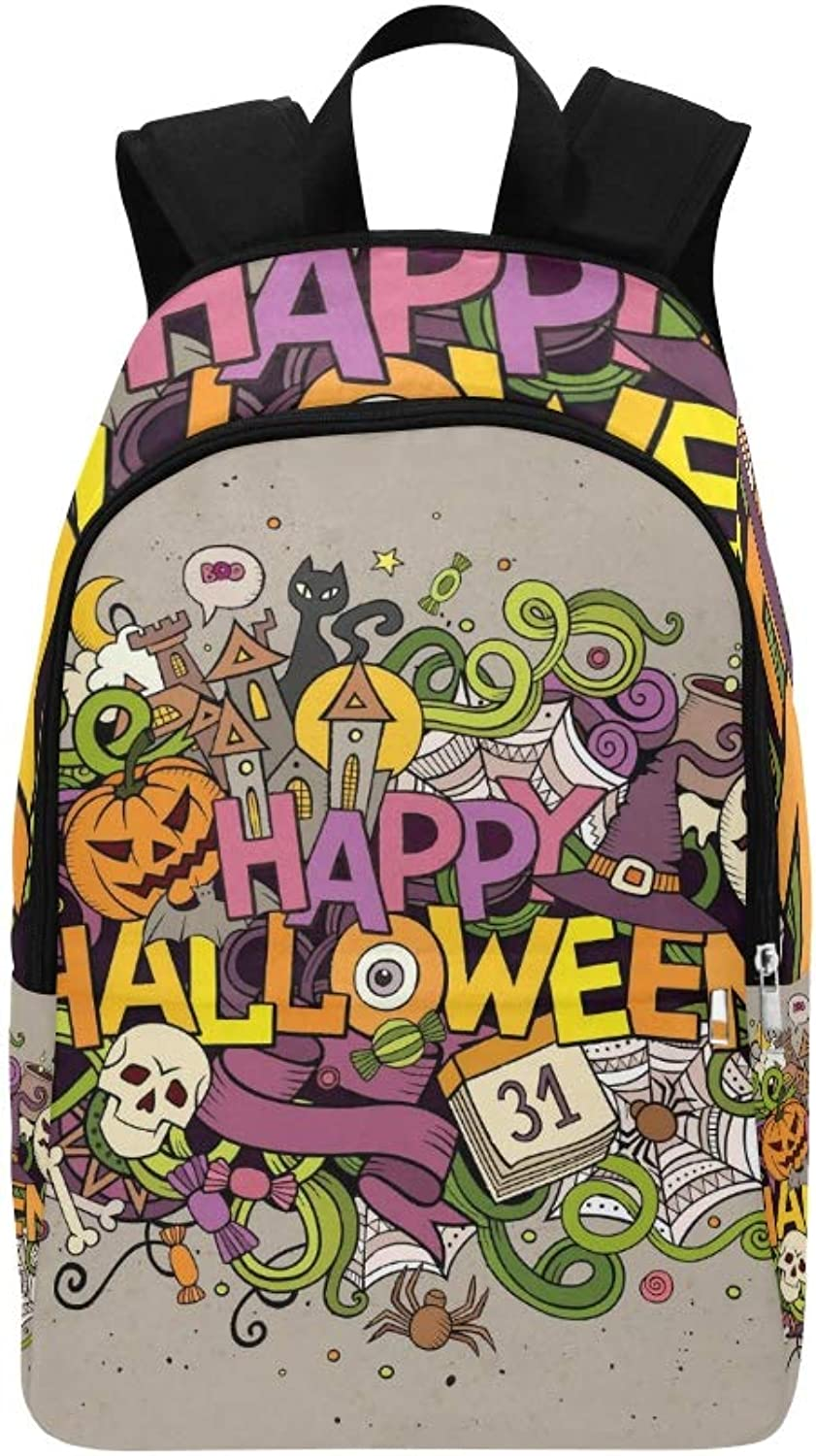 Cartoon Hand Drawn Doodle Happy Casual Daypack Travel Bag College School Backpack for Mens and Women