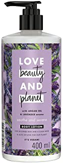 Love Beauty & Planet Natural Argan Oil & Lavender Soothing Body Lotion, 24hr Moisturization, Non-sticky, Paraben Free, 400 ml