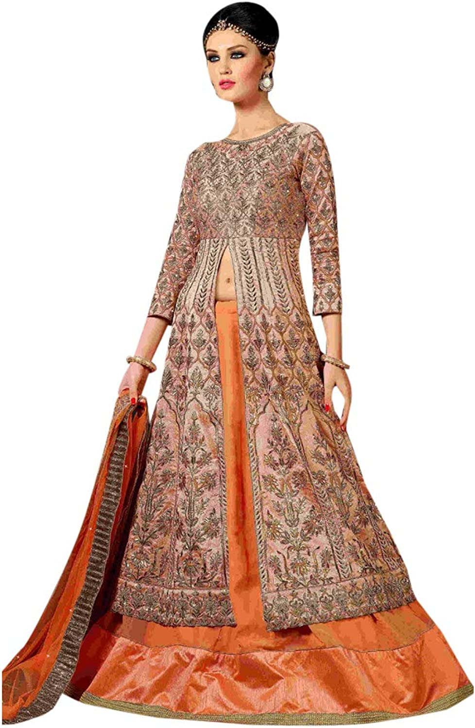 Stylish Bollywood Party wear Embroidered Skirt style Salwar Kameez Front split for Women 7793